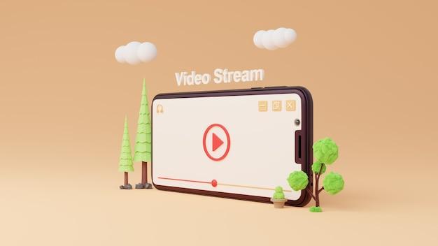 Потоковое видео 3d красная кнопка воспроизведения на оранжевом фоне