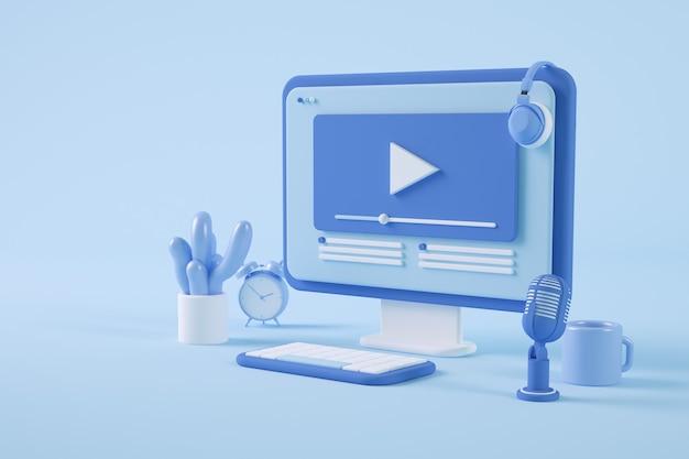 Video streaming on minimal 3d rendering computer