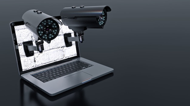 Video surveillance camera and laptop