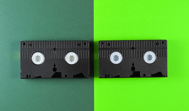 Video tapes on green