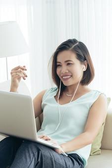 Videocalling asian woman