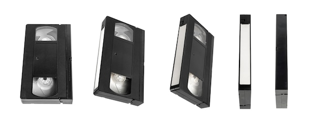 Видеокассета для просмотра фильмов, изолированных на белом фоне, видеокассета.