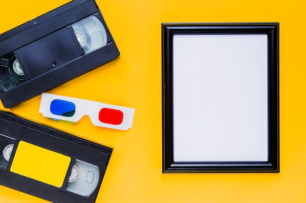 Videotape with 3d glasses and a frame