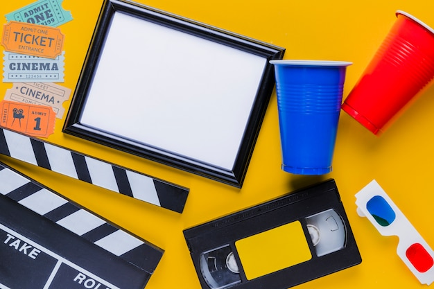 Videotape with clapperboard and a frame