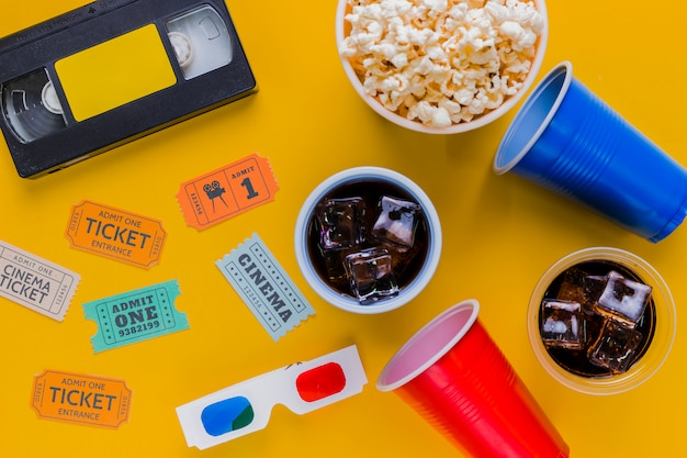 Videotape with popcorns and 3d glasses