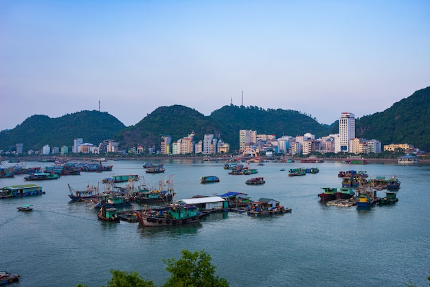 Vietnam cat ba bay at dusk with floating fishing boats on sea