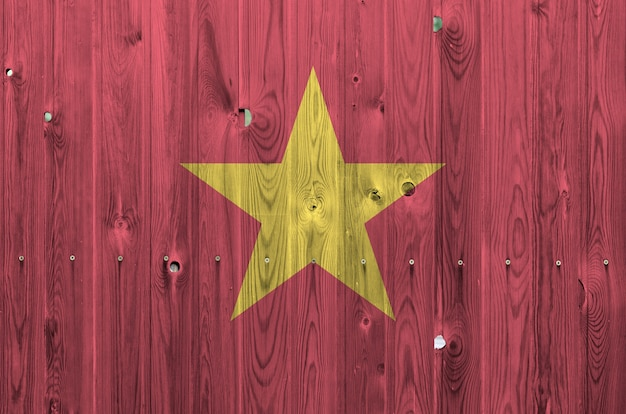 Vietnam flag on old wooden wall