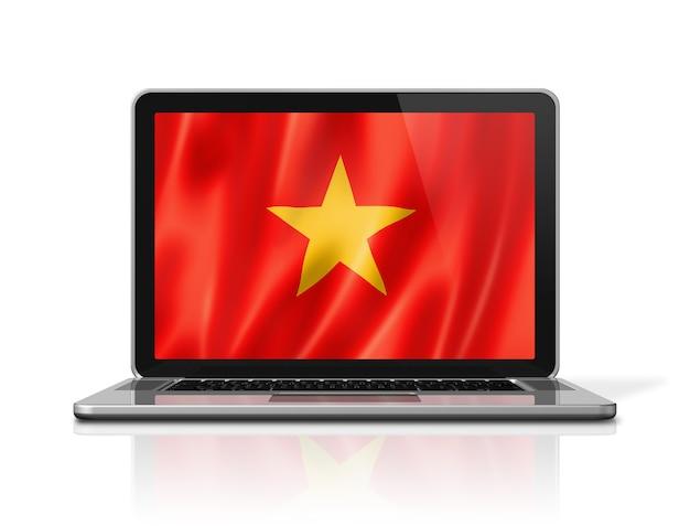 노트북 화면 흰색 절연에 베트남 플래그입니다. 3d 그림 렌더링합니다.