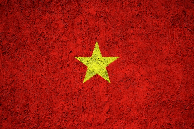 Vietnam flag painted on grunge wall