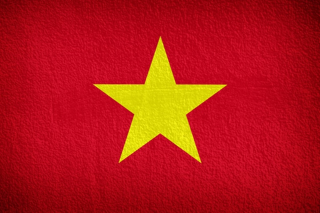 Vietnam flag pattern on the concrete wall