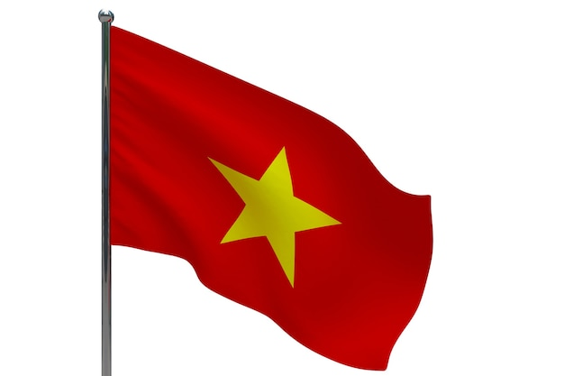 Vietnam flag on pole. metal flagpole. national flag of vietnam 3d illustration on white