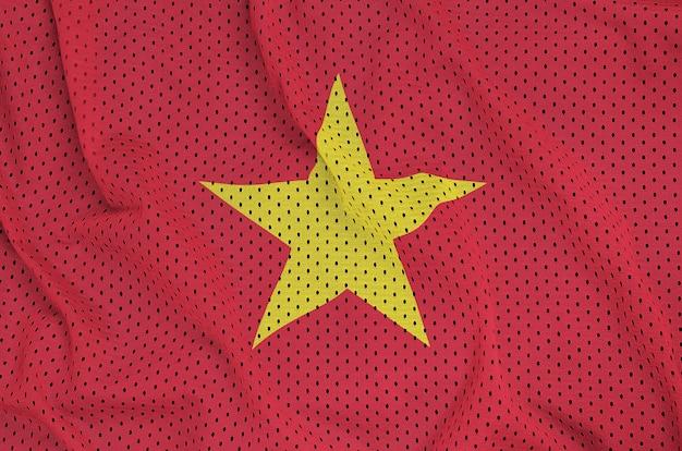 Vietnam flag printed on a polyester nylon sportswear mesh fabric