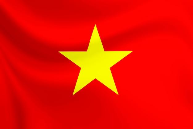 Vietnam flag waving on texture fabric.