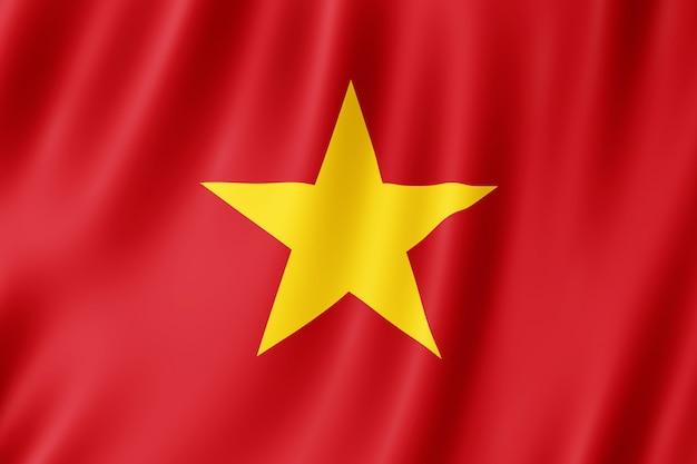 Vietnam flag waving in the wind.