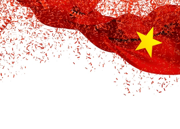 Vietnam flag with confetti falling on white background for independence day. 3d illustration