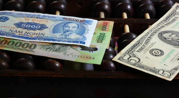 Vietnam note with american note on chinese abacus