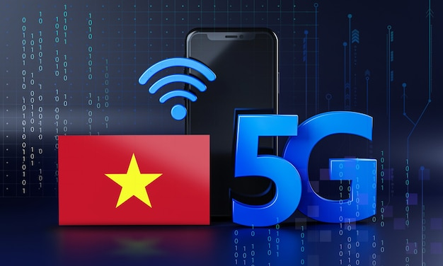 Vietnam ready for 5g connection concept. 3d rendering smartphone technology background