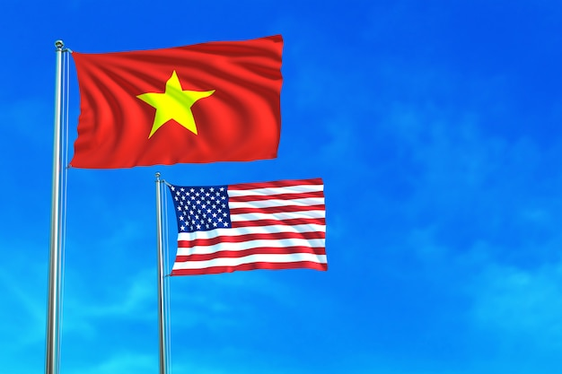 Vietnam and united states (usa) flags on the blue sky background.