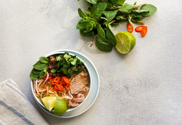 Vietnamese beef noodle soup spicy.