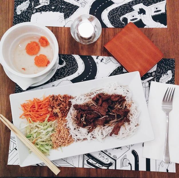 Vietnamese bun bo nam bo noodles with pork meat