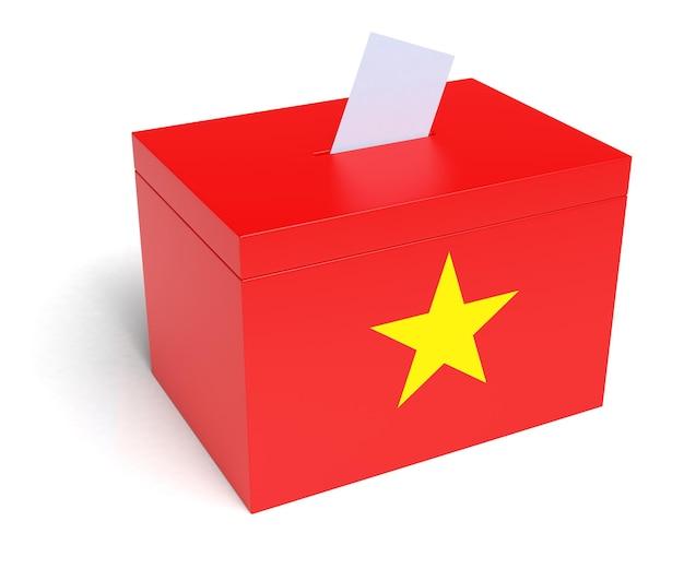 베트남 국기 투표함. 격리 된 흰색 배경입니다. 3d 렌더링.