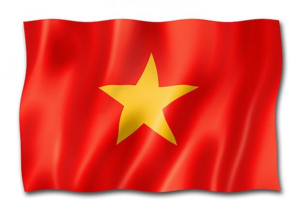 白で隔離されるベトナムの旗