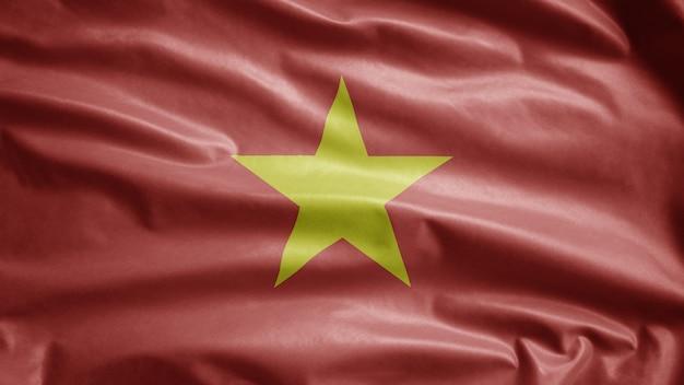 바람에 물결 치는 베트남 국기. 베트남 템플릿 부는 부드럽고 매끄러운 실크. 천 패브릭 질감 소위 배경. 국경일 및 국가 행사 개념에 사용하십시오.