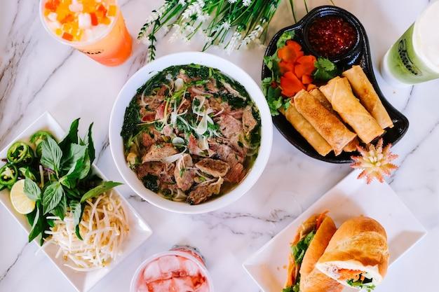 베트남 음식 배경 포