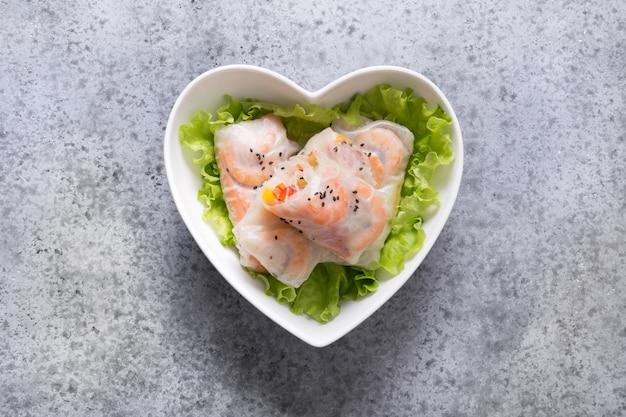 Vietnamese food spring rolls with vegetables, shrimps. asian cuisine.