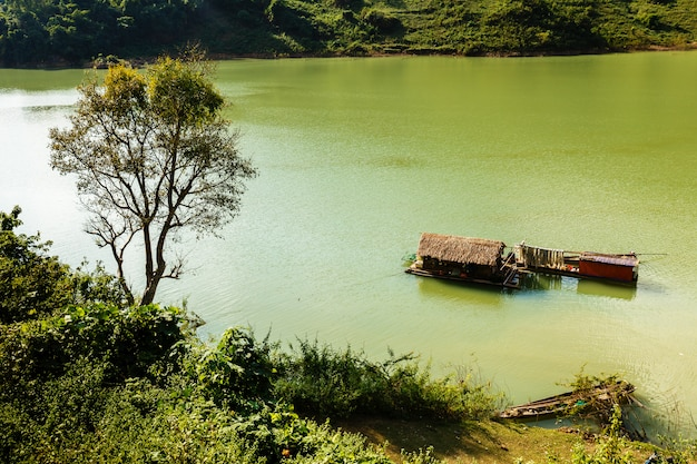 Vietnamese houseboat on the water