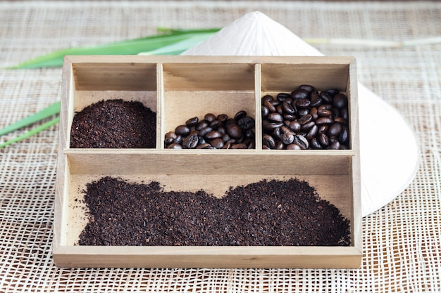 Vietnamese robusta coffee in wooden box