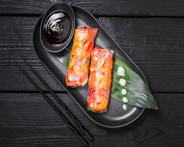 Vietnamese rolls filled with vegetables