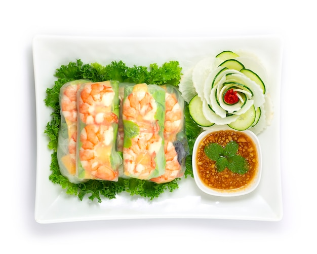 Vietnamese shrimps spring roll with fresh vegetable goi cuon