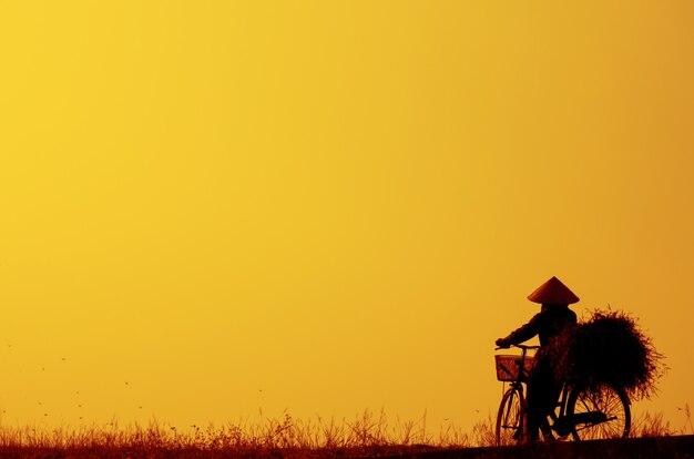 Vietnamese woman cycling