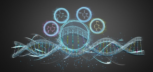 View of a 3d render dna isolated on