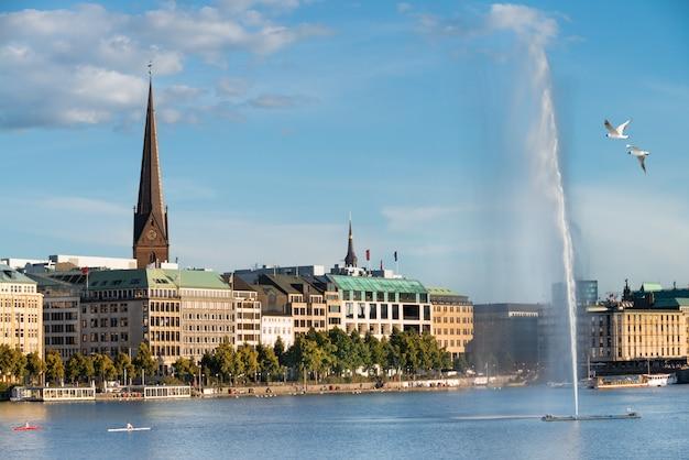 View across the inner alster lake in hamburg
