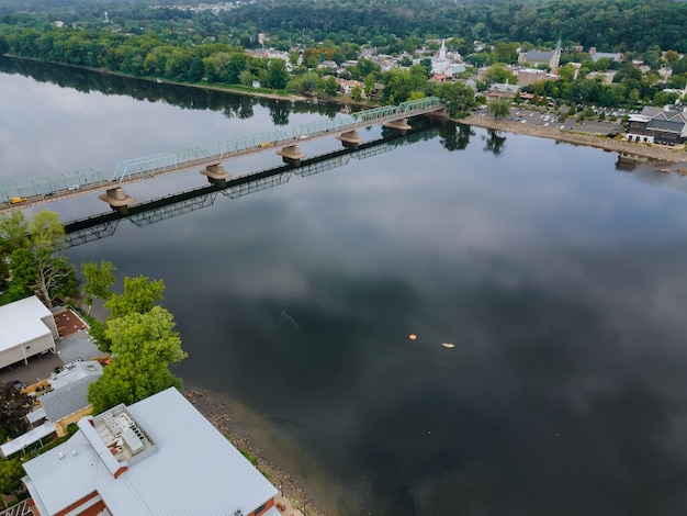 The view of aerial delaware river, bridge across the in the historic city new hope pennsylvania and lambertville new jersey usa
