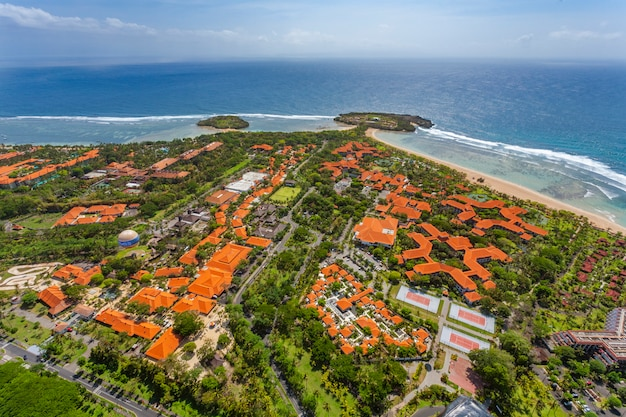 View of aerial shot over bali island located in bali, indonesia
