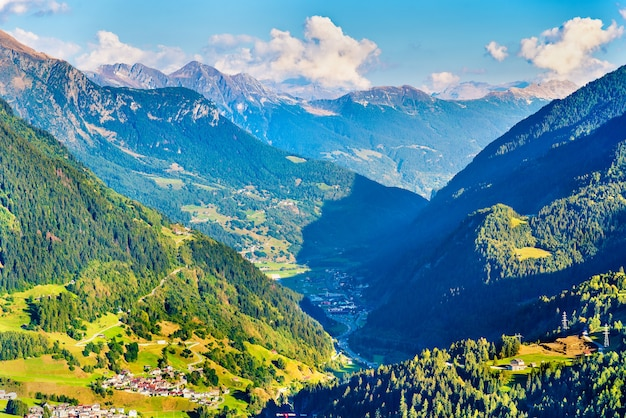View of airolo village from the gotthard pass in switzerland