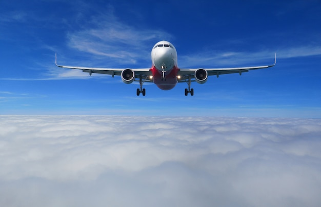 View of the airplane with full landing configuration flying over the beautiful cloud.