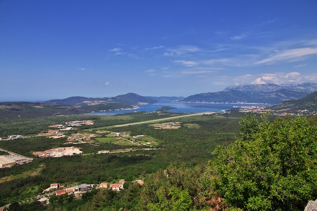 The view on airport in montenegro, the adriatic coast