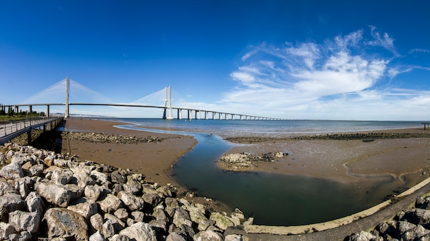 View of the amazing bridge, vasco da gama, located in lisbon, portugal.