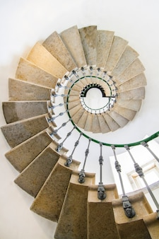 View of an amazing spiral staircase inside a lighthouse.