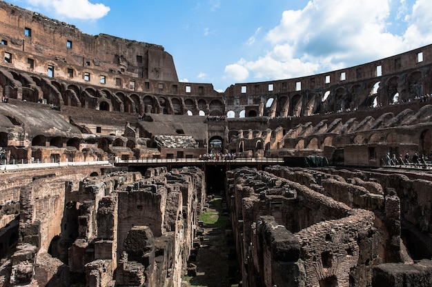 View to the amphitheater inside of colosseum in rome, italy