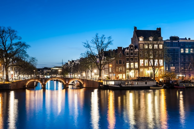View of amsterdam by night