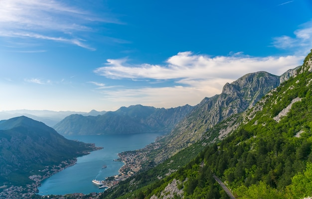 A view of the ancient city of kotor and the boka kotorska bay from the top of the mountain.