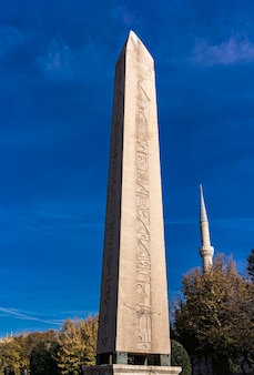 View at ancient egyptian obelisk of theodosius in istanbul, turkey
