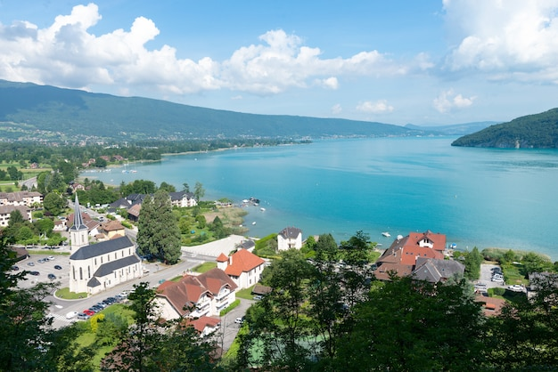 View of the annecy lake with village of duingt