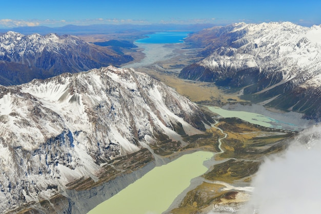 View of aoraki/mount cook national park, south island, new zealand