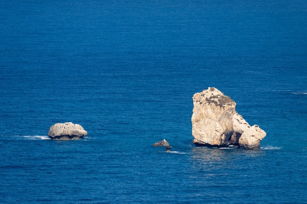 View of aphrodite's rock in cyprus